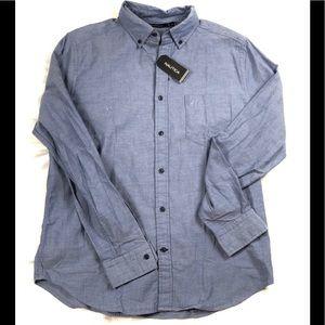 Nautica Mens Dress Shirt Blue Size M Button Down